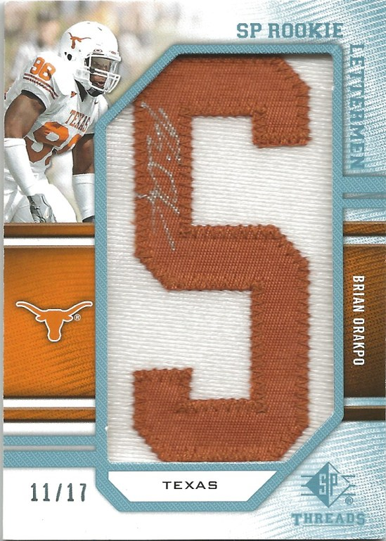 09 SP Brian Orakpo Threads Letterman Auto Relic