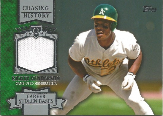 13 T Rickey Henderson Chasing History Game Used Jersey
