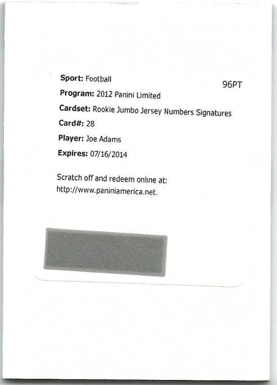 B2 Joe Adams Jumbo Jersey Redemption