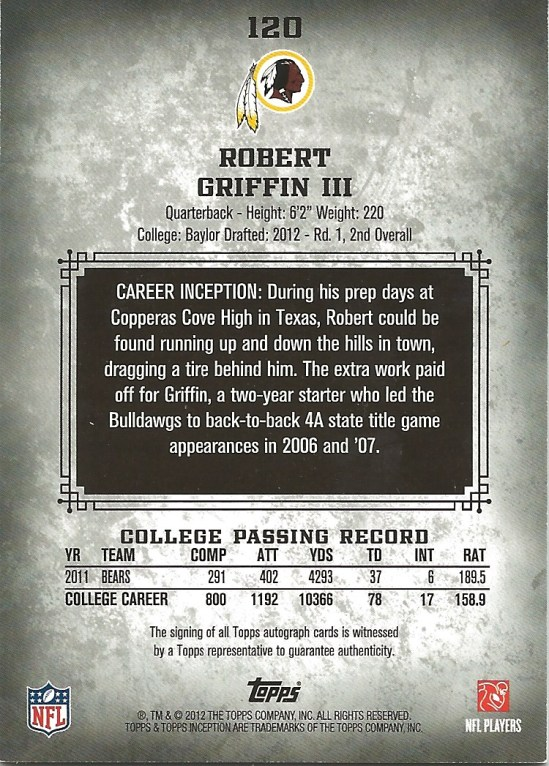 12 PS Rober Griffin III Auto 20:50 Back