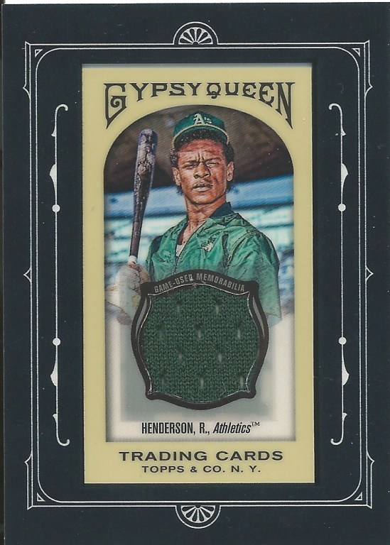 11 GQ Rickey Henderson Mini Game Used Green