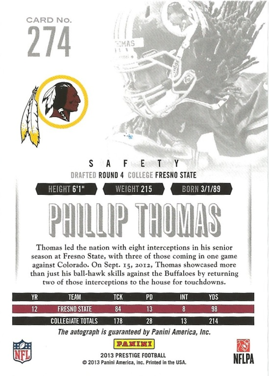 13 PP Phillip Thomas Extra Points Auto Spectrum B
